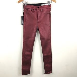 Rag & Bone High Rise Ankle Burgundy Jeans 25